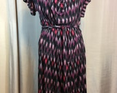 Vintag Shades of Purple, Black, and Red Dress with Tie Belt by Ann Taylor Loft, Ladies Large, Machine Washable Stretch Knit Rayon & Spandex