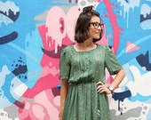 Vintage Green Nautical Print Dress