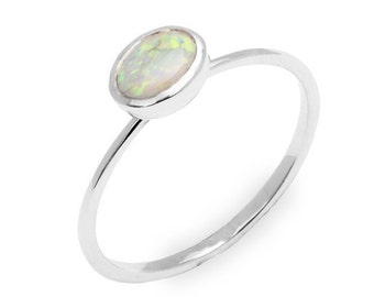 Silver Opal Ring Sterling Silver Opal Engagement Ring Sterling Silver Engagement Ring Christmas Gift For Friend