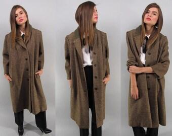 Vintage 50s Tweed Coat, Mens Wear Coat, Long Tweed Coat, Wool Coat, Midi Tweed Coat Δ size: md / lg