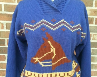 Vintage Horse Equestrian Sweater Jumper By Nell Flowers Retro Kitsch Rockabilly Country Western Small Medium S M Pinup Fall Winter