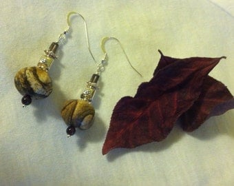 Picture Jasper Hexagon Drop Earrings Accented With Smoky Quartz Garnet Gemstone Beads and Sterling Silver Puffed Floral Square Fancy Beads
