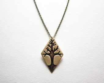 Tree Necklace - Etched Brass