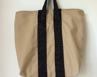 Handmade totebag bag made of beige canvas with black fabric