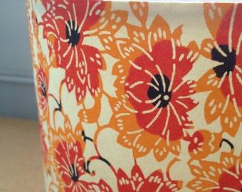 "Cylinder Lampshade - Orange Vine - 15cm diameter 20cm height (approx 6"" x 8"")"