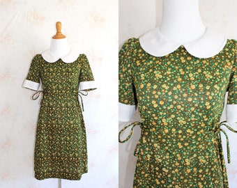 Vintage 60s Mod Dress, 1960s Mini Dress, Peter Pan Collar, Floral Flower Print, Dolly
