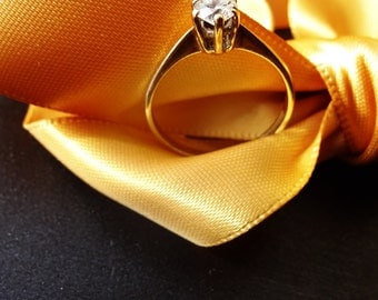 Yellow Gold Ladies Solitaire Ring, 9ct Ring, Fully Hallmarked Gold Ring, Cubic Zirconia,114.00 US,For someone special