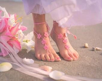 Flower Girl Barefoot Sandals- Toddler Foot Jewelry- Flower Girl Shoes- Beach Wedding- Sandles- Barefoot Wedding Sandals- Flower Girl Gift