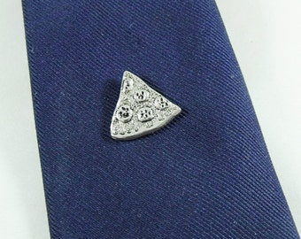 Tie Tack Pin or Lapel Pin,   Mens Silver Slice of Pizza  Mens Accessories  Handmade