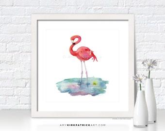FLAMINGO Painting, Flamingo Print, Flamingo Greeting Cards, Flamingo Original Painting, Beach Wall Decor, Beach Wall Art, Flamingo Pose