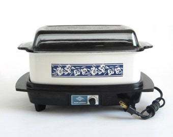 Slow Cooker West Bend 84624 4 qt Rectangular Vintage White Blue