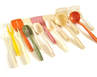 Nylon Plastic Foley Kitchen Utensils 1970s 1980s Kitchen Spatulas Spoons Forks Potato Mashers Ladles