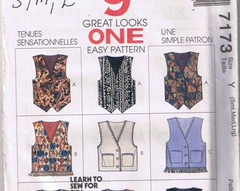 McCall's 7173 Misses' and Men's Lined Vest - 9 Great Looks, One Pattern - Sizes S, M, LG - UNCUT