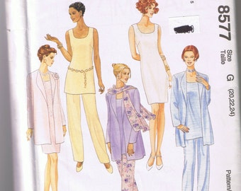 """McCalls 8577 - Misses Unlined Jacket, Dress, Top, Pull-On Pants and Scarf - Sizes 20, 22, 24 - UNCUT """"Easy McCalls"""""""