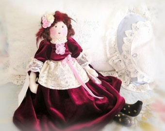 Art Doll, Cloth Doll, Soft Sculpture Doll, AIMEE 17 inch OOAK Handmade CharlotteStyle SIGNED
