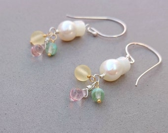 RESERVED Freshwater Pearl Earrings - Pastel Earrings with Glass, Mother of Pearl, Sterling Silver and Vermeil