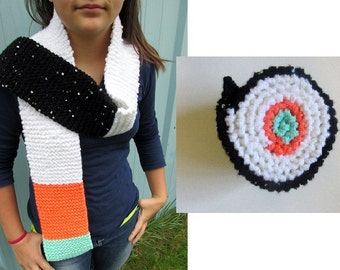 PATTERN ONLY: Sushi - California Roll - Scarf! Knitting Pattern, Easy Knit for Beginners, Instant Download