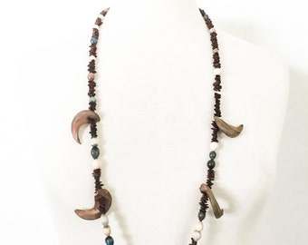 Vintage 1970s Handmade Natural Seed & Brazil Nut Necklace