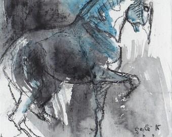 Horse Piaffe, Animal, Modern Original Fine Art, Blue Ink and Black Chalk Drawing of a Horse