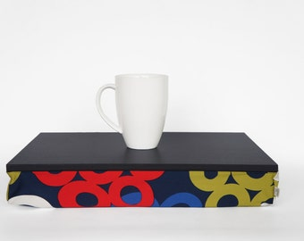 Bold print Breakfast tray, lapdesk - dark grey tray with multi color printed pillow