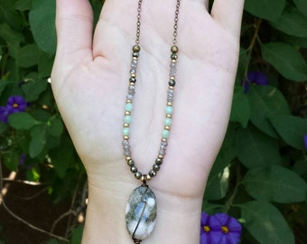 Ocean Jasper Gemstone Necklace, Labradorite, Pyrite, Glass, One-of-a-kind, *Ready-to-ship*