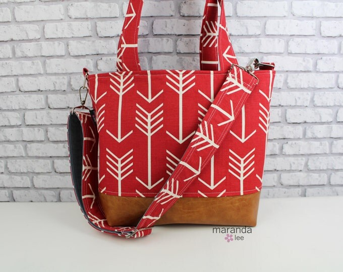 Lulu Large Tote Messenger Diaper Bag  Red Arrow and PU Leather with Grey Lining Color- Archer Nappy Bag Stroller Attachment