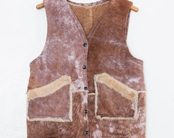 patchwork shearling vest - M