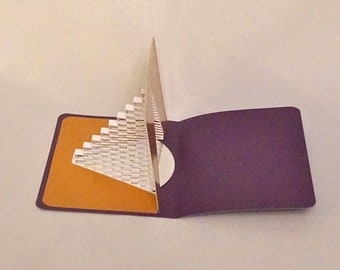 STAIRS 2 SUCCESS 3D Pop Up Card Origamic Architecture Geometric Pyramid w/Mirror Reflection in White Metallic Purple & Shimmery Gold OoAK