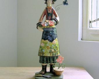 Flower Gardener Statue, Garden Girl Figure