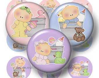 Baby, Bottle Cap Images, 1 Inch Circle, Digital Collage Sheet, Baby Boy, Baby Girl, Round, Instant Download, Printable, Baby Shower (BB-1)