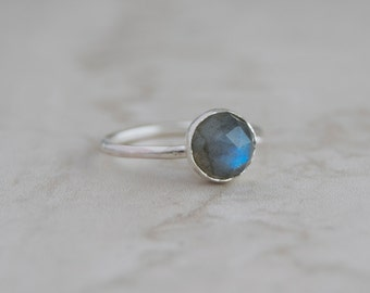 Gemstone ring- Labradorite Ring- Stacking Rings- Gift for wife- Anniversary gift- Silver Stacking Ring