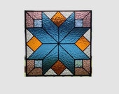 Geometric stained glass panel window steel blue quilt sampler stained glass window panel modern window hanging abstract suncatcher 0031