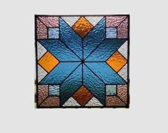 Geometric stained glass panel window steel blue quilt sampler stained glass window panel window hanging suncatcher 0031 12 1/4 x 12 1/4