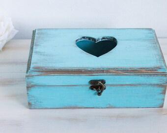 Rustic Wedding Card Box Wooden Keepsake box Blue Memory box Wedding Memory Chest Jewelry Holder Personalized Card Box