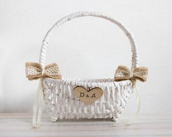 Rustic flower girl basket White Wedding personalized basket Bridal basket White Flower Girl Basket Country flower girl basket Burlap wedding