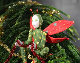 Christmas Tree Fairy Art Doll, OOAK, Starlight