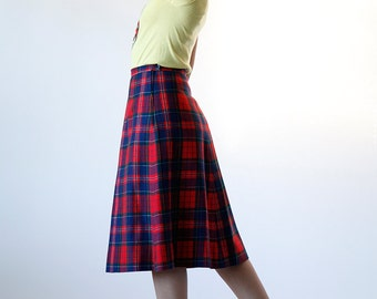 Vintage 70s Pendleton Wool Red Plaid Midi Skirt Size 8 Made in USA - B1