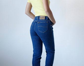 Vintage 80s High Waisted Lee Jeans Dark Denim - Modern Size 4/6 Made in USA - R8