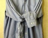 Dress Shirt blue cotton striped long sleeve button down preppy ivy league boyfriend tomboy unisex womens oversized  men size 15 34 35 medium