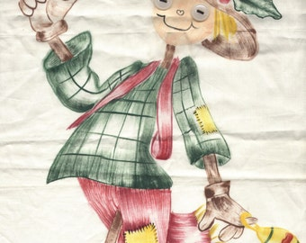 Vintage Christmas Scarecrow Panel - Hand Painted - 100% Cotton Fabric