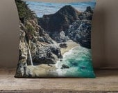 Travel Gift, Decorative Pillow Cover, Big Sur Waterfall, Photo Pillow Case, Beach Decor, California Photo Pillow Case, Toss Pillow cover