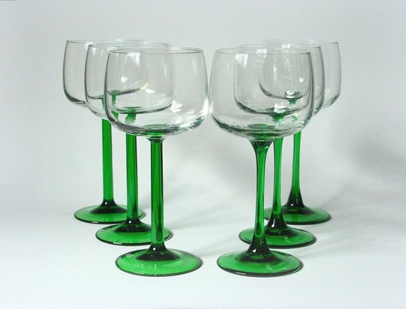 Green stemmed wine glasses hock wine jg durand french white for Thin stem wine glasses