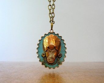 Vintage Mexican Pendant Carved Aztec Warrior Face Mixed Media Modernist