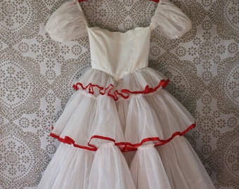 Girls Vintage 1970's 80's White Swiss Dot with Red Trim Dress Size 5/6/7