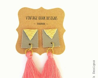 Boho Leather Tassel Earrings, Boho Tassel Earrings,Boho Tassel Jewelry,Leather Tassel Jewelry,Tassel Earrings,Tassel Studs,Fabric Jewelry