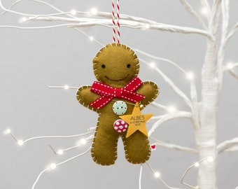 Gingerbread Man Tree Decoration - Personalised Gingerbread Man Decoration - Baby's Frist Christmas Tree Decoration -First Christmas Ornament