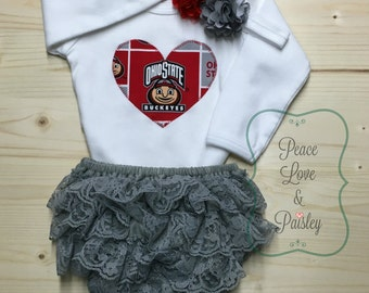 OSU Bodysuit, Lace Diaper Cover and Headband Set Made from OSU Fabric, Ohio State University Baby Outfit, OSU Baby, Baby Girl Buckeyes