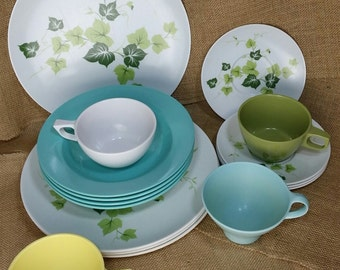 Glamping / Picnic Mix & Match Mid Century Melmac Dinner Set for 4, Texas Ware, Mar-Crest, Fostoria, Mallo-Ware, Camping Picnic 16 pieces *eb