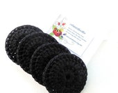 Black Dish Scrubber - Set of 2 through 8 - Nylon Crochet Scrubbies