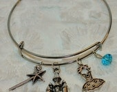 Glinda Inspired Expandable Wired Bracelet Good  Witch Wand Dress Castle Blue